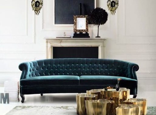 Tufted sofa in green with gold accent, how to choose a sofa
