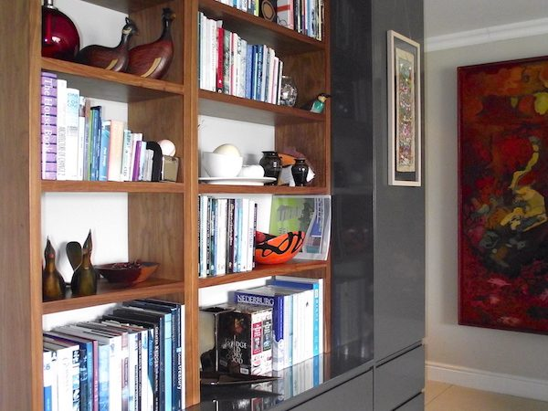 Custom design bookcase in entrance