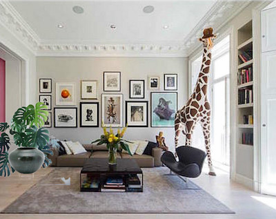 plant with giraffe in living room