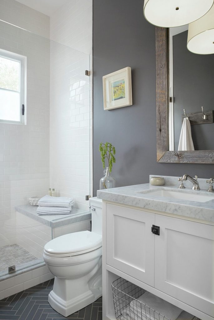 paint makeover in bathroom with blue grey